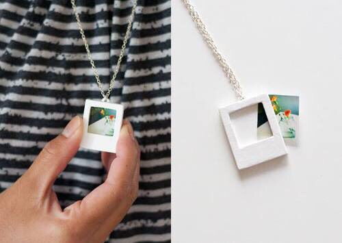 This is just a Polaroid inspired necklace, which seems super easy and cute!