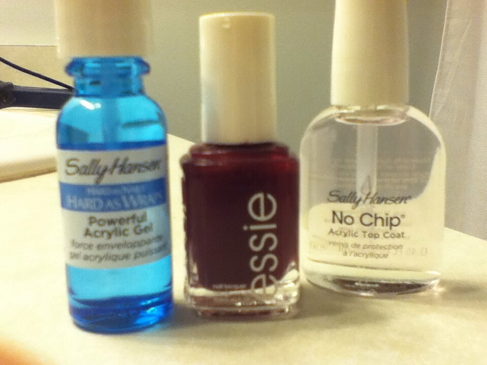 WHAT I USED: 1. SALLY HANSEN HARD AS WRAPS POWERFUL ACRYLIC GEL 2. MY FAVORITE NAIL POLISH (SERIOUSLY, ESSIE IS AMAZING) 3. SALLY HANSEN NO CHIP ACRYLIC TOP COAT