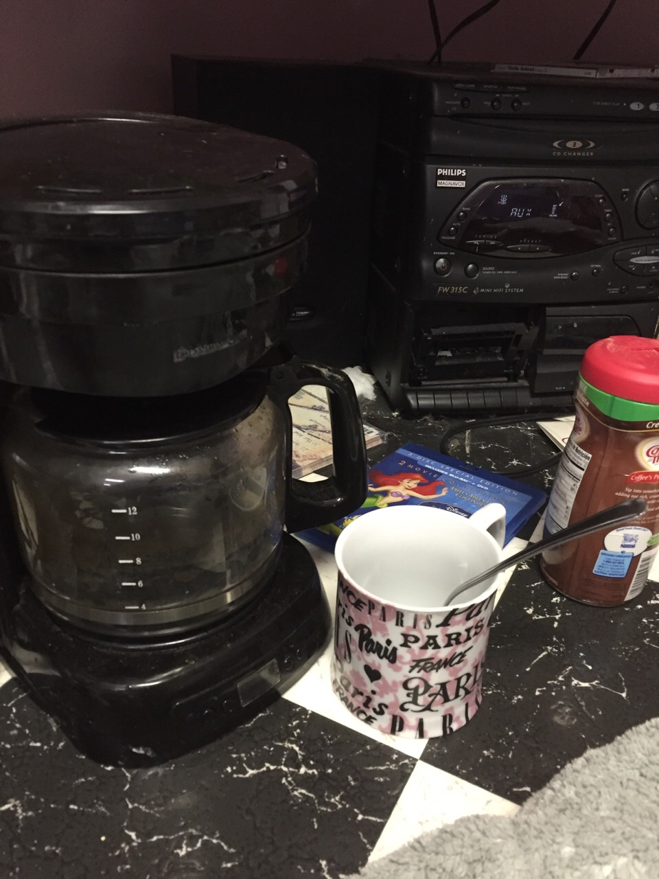 I took the coffee maker and got a cup, spoon, and whatever coffee stuff to add. Which I use coffee mate and a bit of milk.