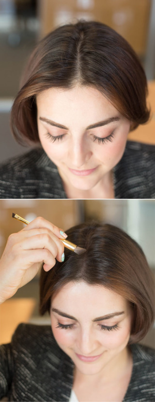 use eyeshadow (same color as your hair) and fill in the part to make your hair look thicker