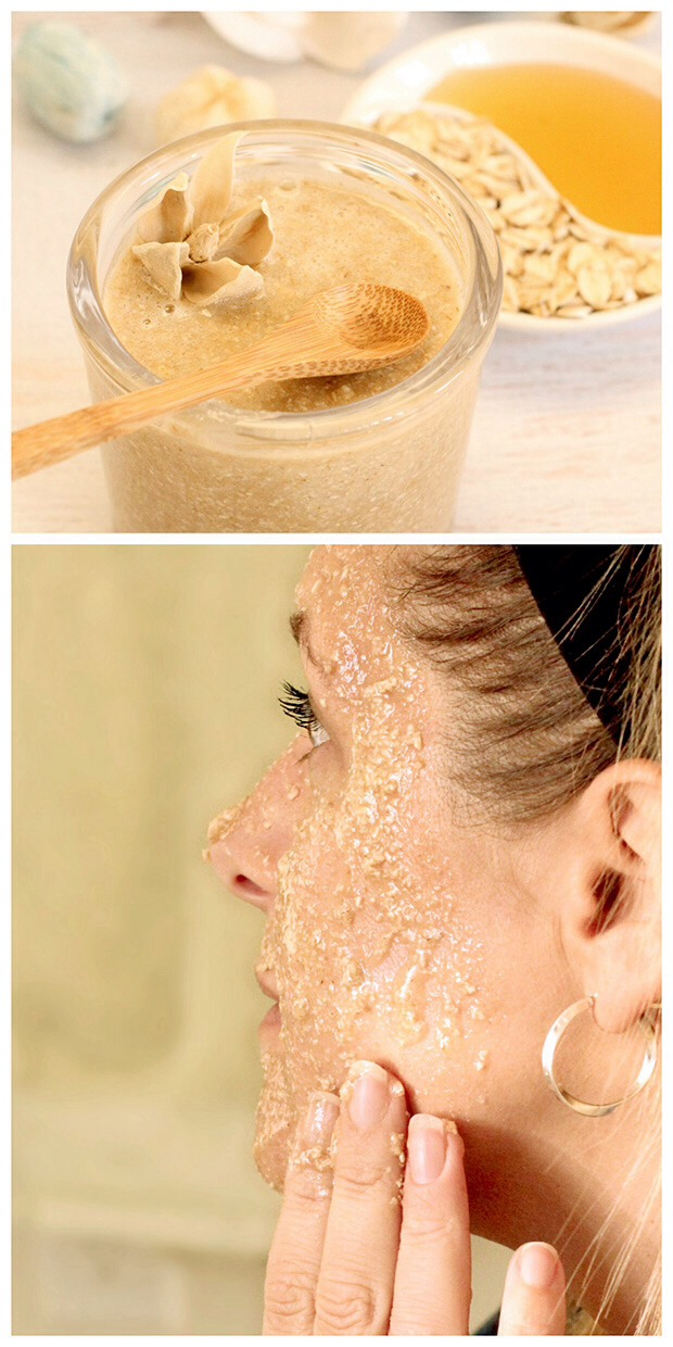 Oatmeal Facial Mask Mix a tablespoon of colloidal oats with a couple teaspoons of warm water to form a thick paste. Spread onto your face (keep your hair pulled back to avoid a mess) and leave on for 15 minutes until dry. Rinse it all off with warm water, follow with a splash of cold, and walaaaa!