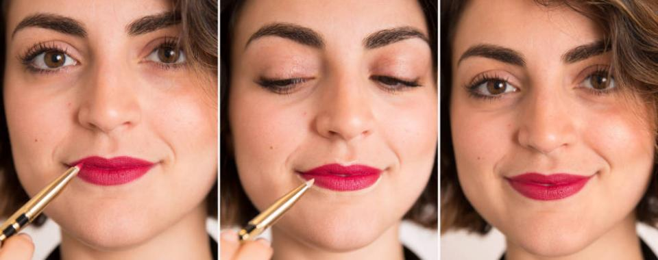 13. Make your lipstick pop and prevent the color from bleeding by lining the outside of your lips with a fine-tip brush and a bit of concealer. You'll be amazed at how sharp your lips will look afterward.