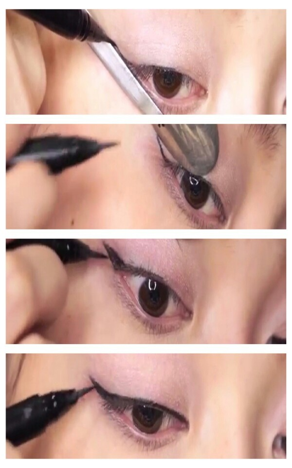 how to use a spoon for winged eyeliner