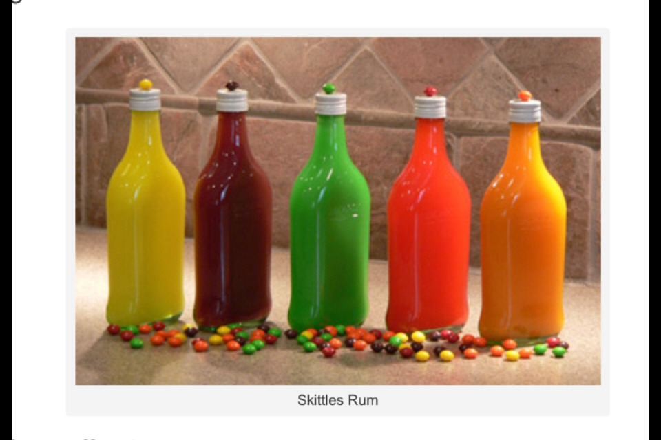 Ingredients- *Rum of your choice *2 large bags of skittles *5 empty water bottles *funnel (used to pour rum back into bottle *coffee filters or paper towels * 5 bowls (used to separate the skittles by color)