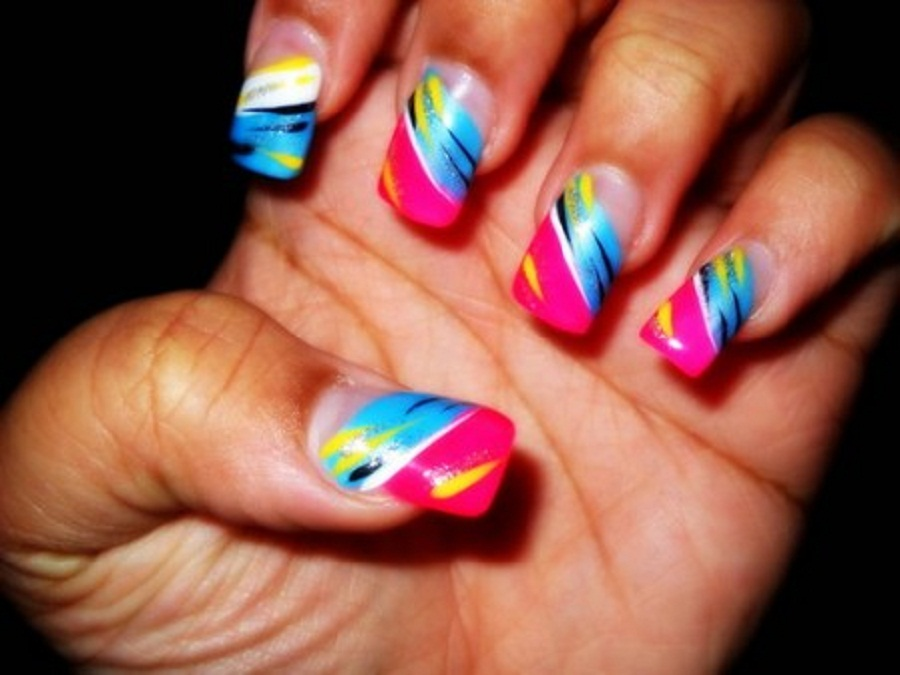 Colourful nail design...