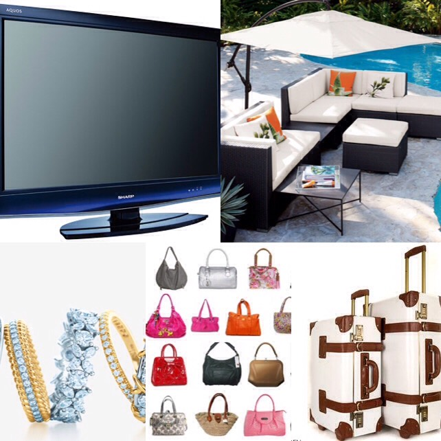 May- televisions, jewelry, handbags, luggage, and outdoor furnishings.