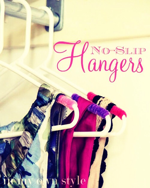 Use pipe cleaners to prevent your clothes from sliding off their hangers