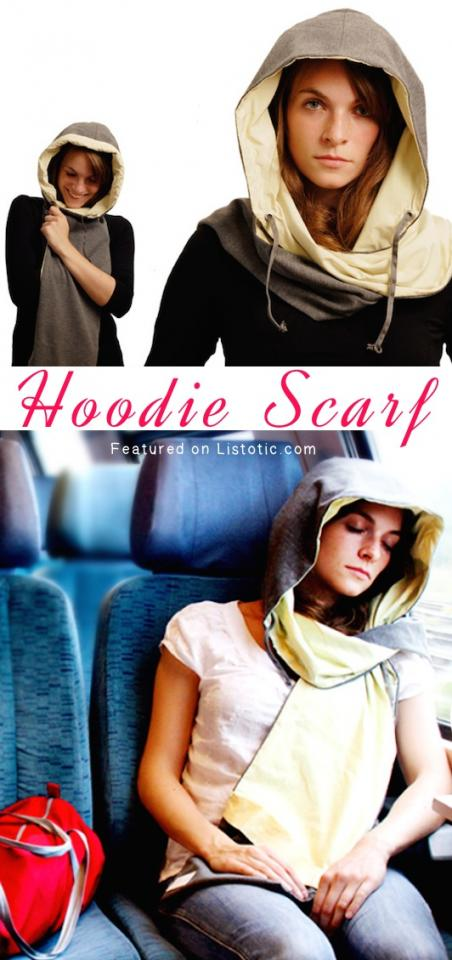 15. Hoodie Scarf So much more than just a hoodie! It also has a built in cushion to making napping while traveling comfortable and convenient. The scarf also has a pocket to keep important things close by.