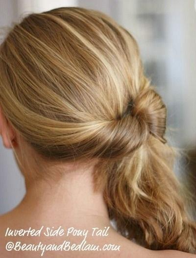 3. For when you just want to get your hair off your neck, do an inverted ponytail on the side.