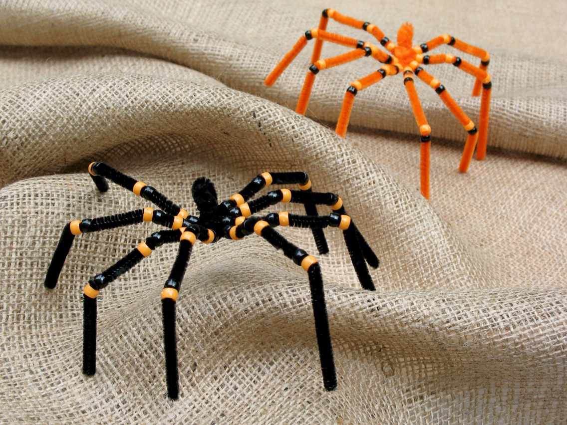 Shape some pipe cleaners into spiders, get creative with it, and then add some beads onto them :) cute to add around the house, or into cobwebs! And the kids will love the making them!