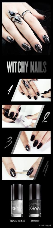 1) Apply 2 coats of Color Show in 'Onyx Rush' to each nail. 2) Crinkle plastic wrap it into a ball. Apply Color Show in 'Pedal to the Medal' to one end of the wrap. 3) Dab each nail with the lacquer-painted edge of the plastic wrap 1-2 times. 4) Clean up smudges and remove extra polish with a pointe