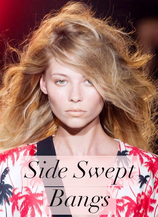 Another hair trend for 2014 which we are coveting is side swept bangs. We were all over full fringes and blunt cuts in 2013 but this year, we're giving a nod to boyish haircuts by sweeping our hair into a messy side parting and messing up our overgrown bangs, before pulling them to the side.