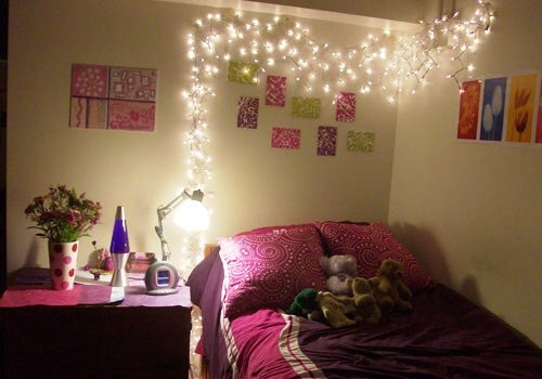 Adding cute simple lights to your room makes it feel more warm and cozy! Add some fuzzy pillows and blankets and your room will look cozy and warm:) I personally love that look(;