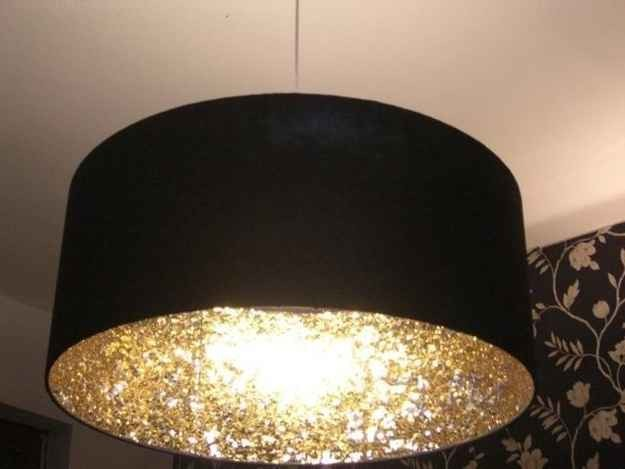 16. Coat the inside of a lampshade with glitter to create a cool reflective light effect.