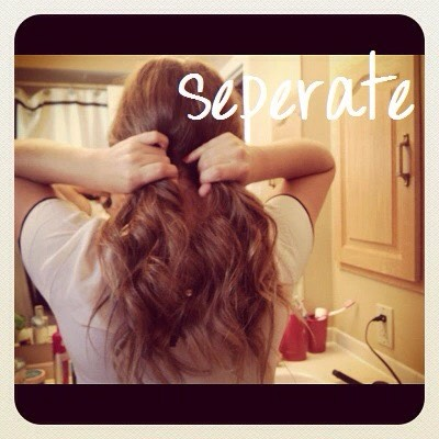 2. Separate your hair into two sections.