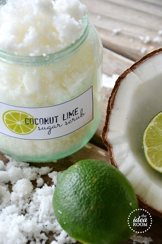 23. Homemade Sugar Scrub I can only imagine how good this must smell! I have this weird obsession with anything coconut; I'd probably end up eating it. But that's ok because it's actually edible and all natural. The instructions are easy and include those cute little labels for you to print out.