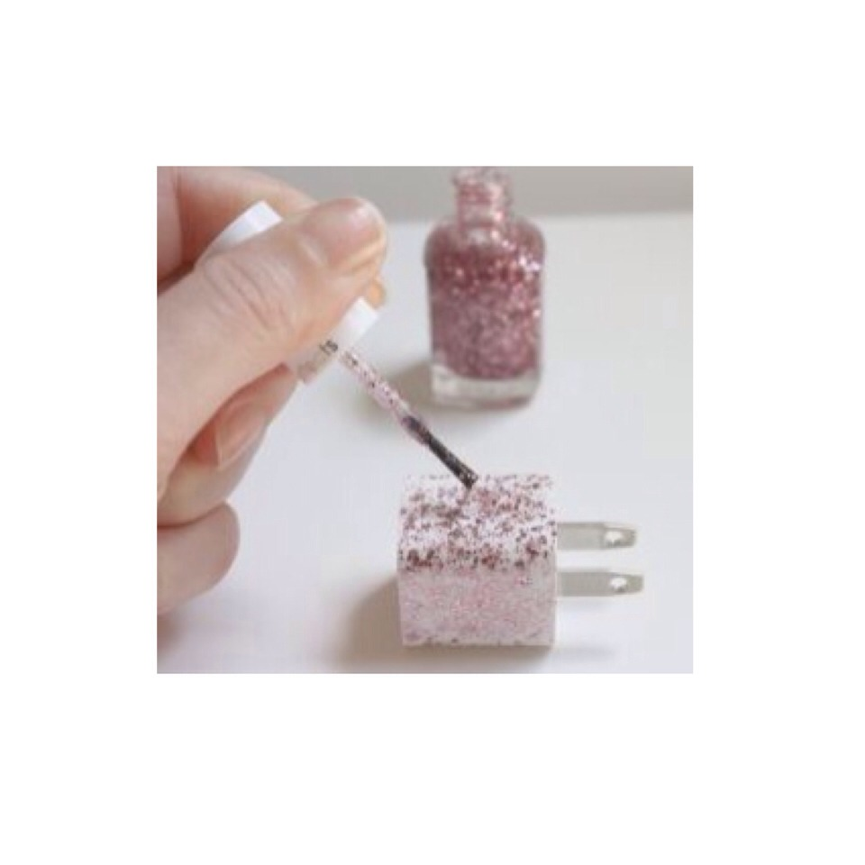 Just paint on the nail polish or the glitter glue and wait for it to dry! If you're using glitter and glue, just paint on the glue using a paintbrush and add glitter! Make sure to let it dry overnight, and not on it's side!
