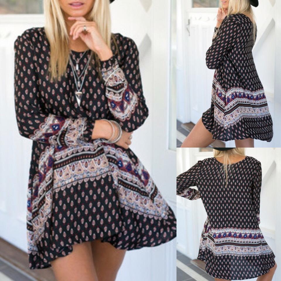 $13.99 http://m.romwe.com/Black-Long-Sleeve-Print-Dress-p-147790-cat-722.html