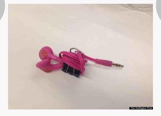 Binder clip = headphone organizer