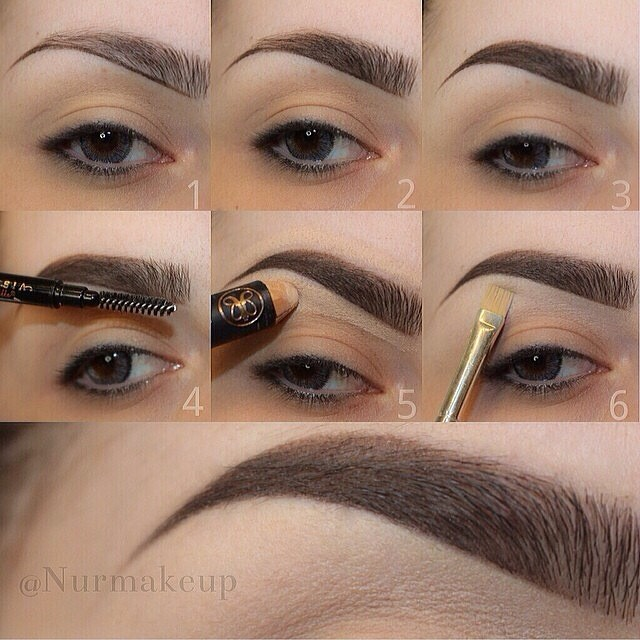3. After creating the outline shapes, fill in the brows with the same pencil or powder and brush again.