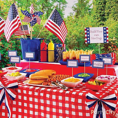 Set up a food buffet