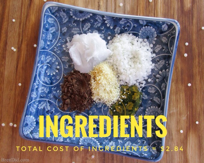 (1) 1 Tbsp grated beeswax or beeswax pellets (white or yellow), $0.70 (2) 1 tbsp coconut oil, $0.45 (3) 1 tbsp almond oil, $0.60 (4) 1 tbsp cocoa butter (grated), $0.83 (5) 1 tsp honey, $0.06 (6) 1 tsp cocoa powder, $0.06 (7) 1/8 tsp vitamin E oil, $0.05 (8) 1/8 tsp almond extract, $0.09 💰 |Amazon