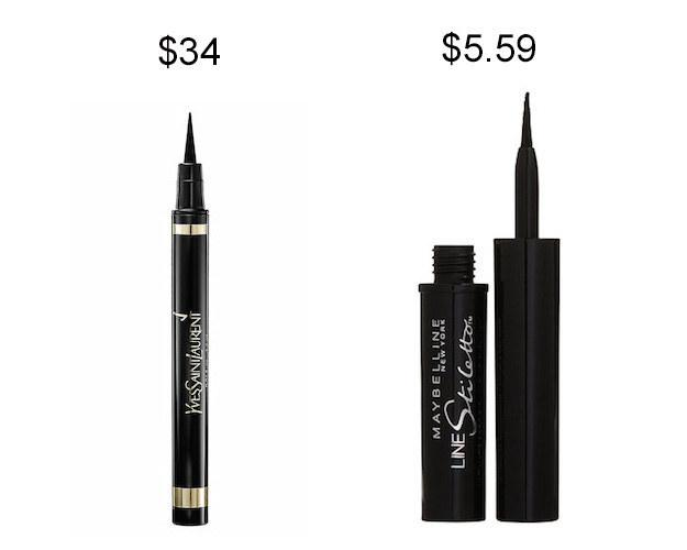 Maybelline Line Stiletto liquid liner instead of YSL Eyeliner Effect Faux Cils.