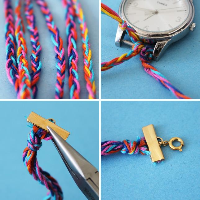 Tie three braids to the bottom of your watch and three to the top. Use cord ends to clasp them together on each end, add a clasp, and you've got a friendship watch!