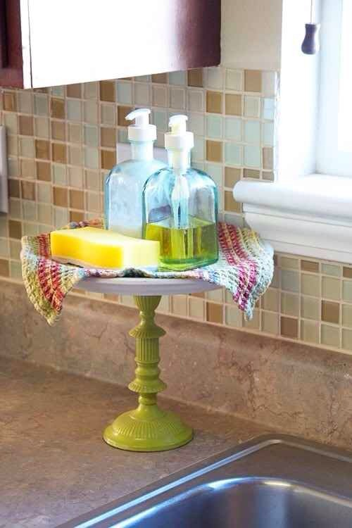 15. Use a cake stand for your kitchen sink needs.