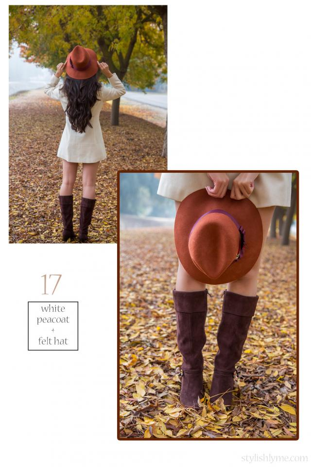 Brown suede boots and a white peacoat  Play with length and try wearing your coat as a winter dress, top it off with a hat and suede boots.