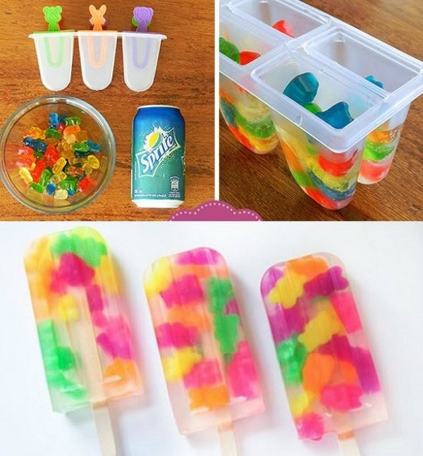 So basically all you do is fill some Popsicle molds about 3/4 of the way up then fill with gummybears, and fill all the way to the top with sprite or any lemon lime soda