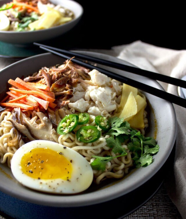 4. SHRED LEFTOVER MEAT AND TOSS IT INTO COOKED RAMEN
