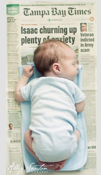 Baby pic on birthday's newspaper
