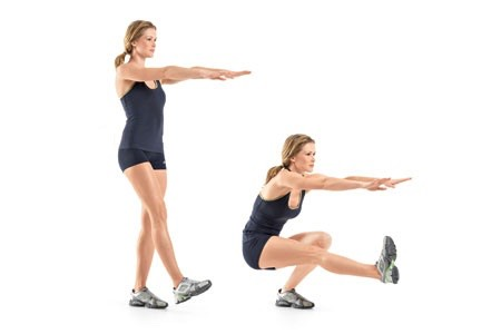 2.One-Legged Squat This move also targets the butt and quads. •Stand with feet hip-width apart, fists in front of chest with elbows bent; lift right foot forward a few inches off floor, foot flexed. •Squat, bending left knee 90 degrees, as you lift right leg to hip level in front of you. Make it easier: •Let right heel hover close to floor. •Do 15 to 20 reps, then switch sides and repeat. Do 2 to 3 sets.