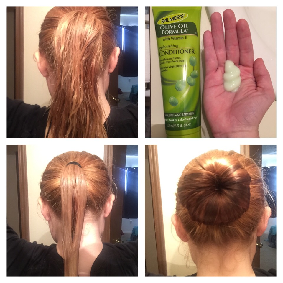 If you're only doing your hair shaft.  Step 1: Put your wet hair in a ponytail. Step 2: Generously pour conditioner or mask of your choice in your hand and start to apply it to your hair shaft. Make sure to evenly and VERY generously coat your hair. Step 3: Roll hair into a sock bun, let mixture sit