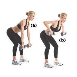 Dumbbell row: 4 sets of 12 reps