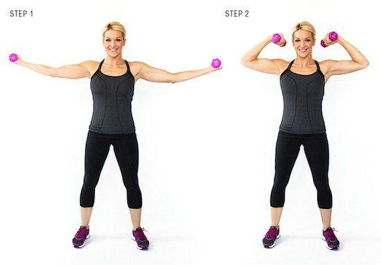 Horizontal Bicep Curl: This move will really work your biceps, as long as you make sure to keep your upper arms straight and bend from the elbow.