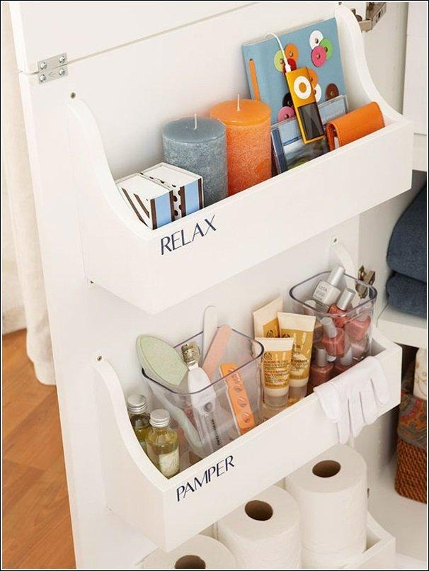 Easily attach storage bins to the inside of a vanity