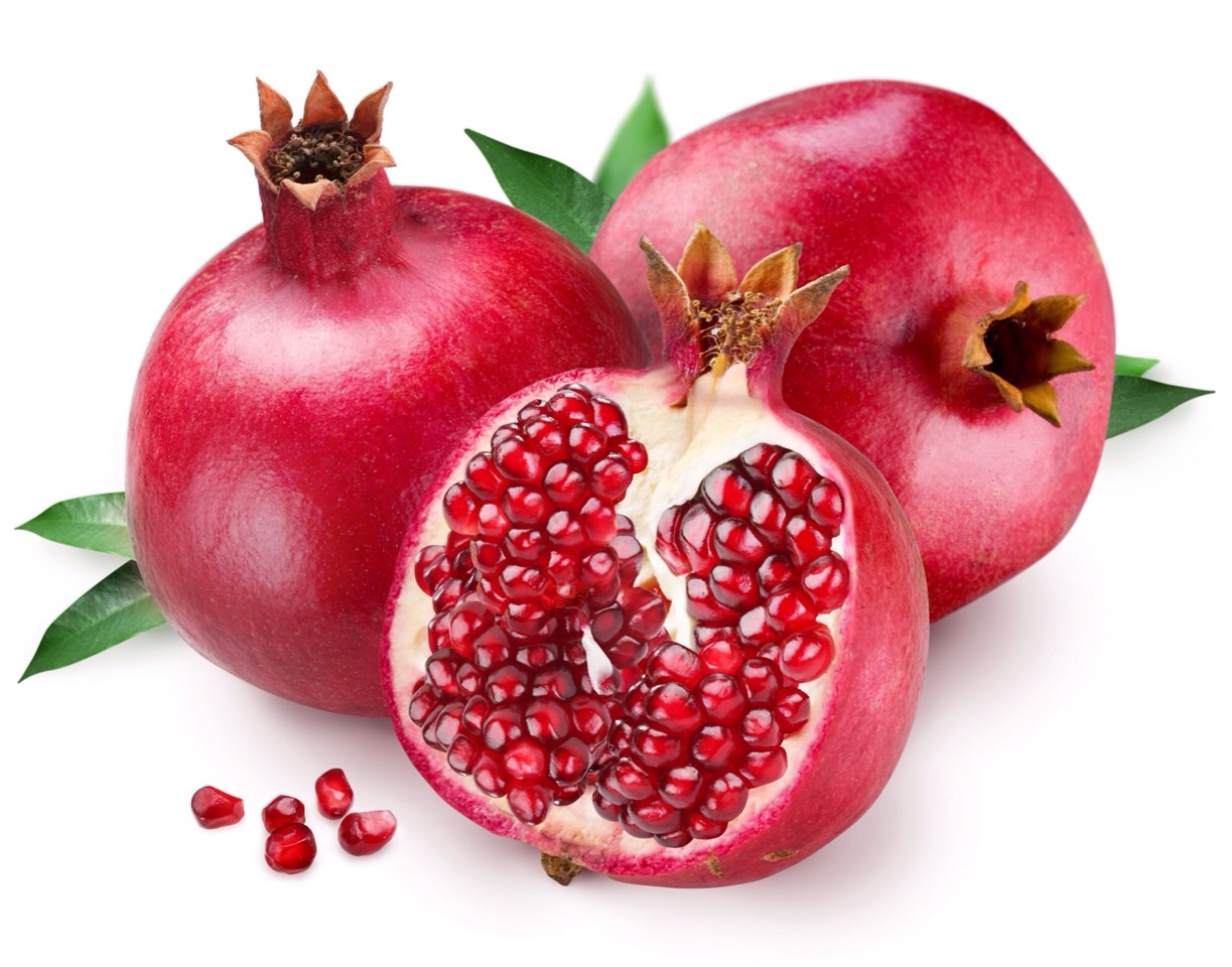 --> Pomegranate. --> Research shows, that the polyphenols antioxidants in pomegranate boost the body's metabolism. In addition they stop the build up of the arterial lipid and lower your appetite.