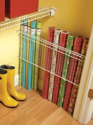 Fill in that wasted spot in closet with a sideways shelf