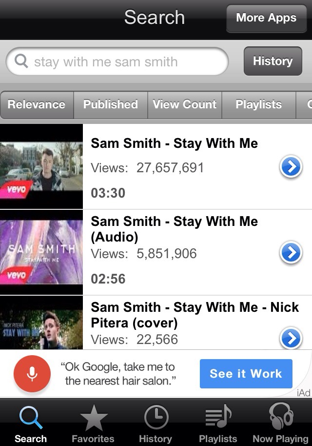 Then it will give you a list of videos to go along with those songs.