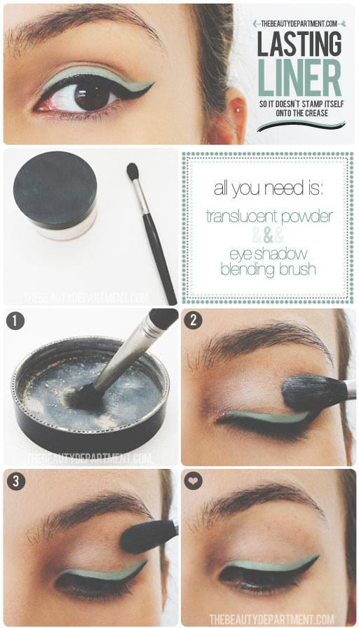 14. Once you have your eyeliner where you want it, prevent the dreaded crease stamp with the help of a little translucent powder.  You don't have to draw the perfect two-tone wing for this trick to work, promise.
