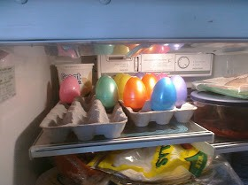 Step Ten:  Place eggs inside fridge for 30-45 minutes until jello has set up. Don't worry, they start setting up faster with each layer.