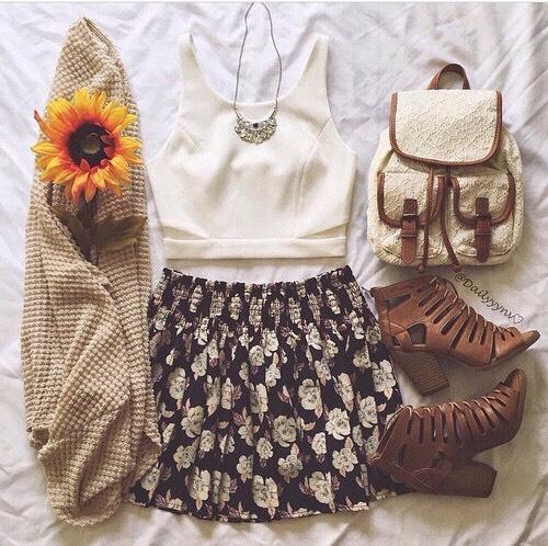 •White crop top •Floral skater skirt •Beige cardigan •Brown wedges •Gold necklaces •Lace bag
