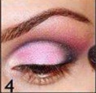 You will then blend out the black eyeliner into the pink eyeshadow using a blending brush.