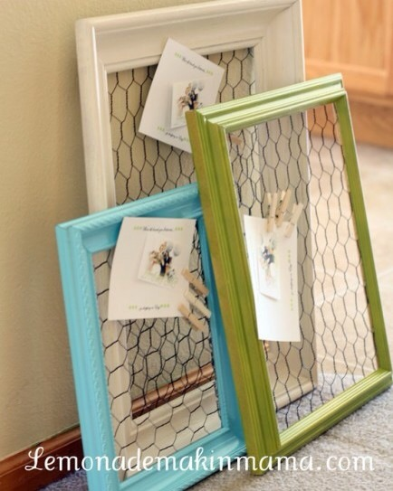 Chicken Wire for Papers  Use chicken wire and a frame to create a totally unique way to display all those important papers.