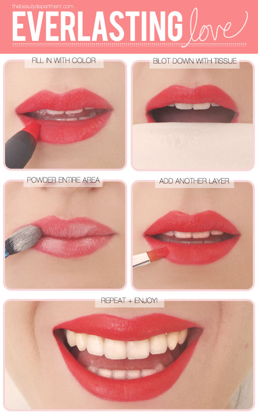 11. To make any lipstick matte, dab translucent or skin-colored powder on top of the lipstick.  This also helps to set the lipstick and prevent it from smudging.