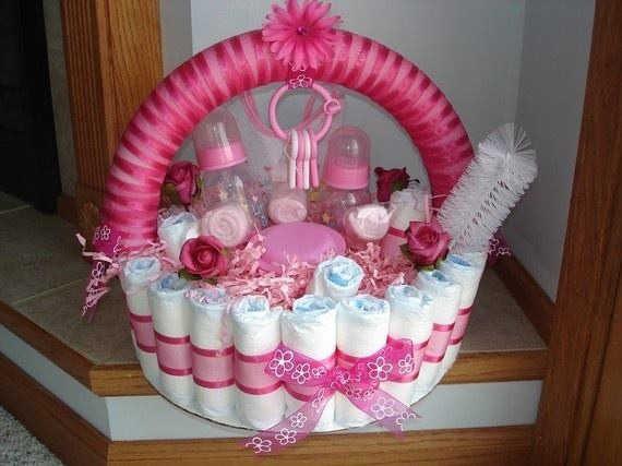 Diaper baby girl gift basket