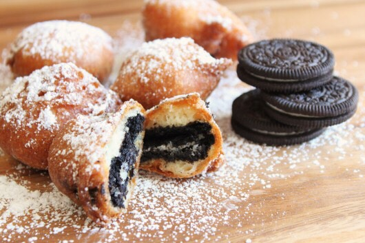 You'll need : 1. Oreos, any amount desired.  2. Pancake mix 3. Vegetable oil  4. Powdered sugar.
