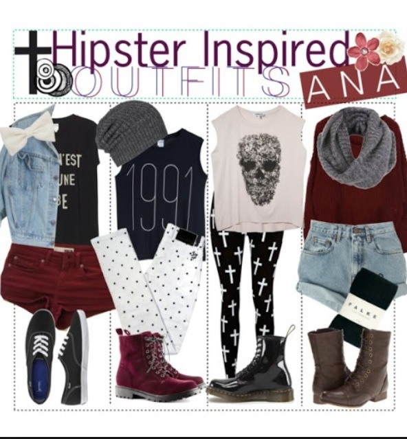 Docs are pain hipster shoes, combats and vans are cool too, beanies bows and scarfs are compliment your outfits.